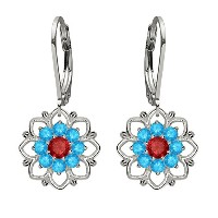 Lucia Costin Silver, Red Sapphire and Swiss Blue Topaz Earrings