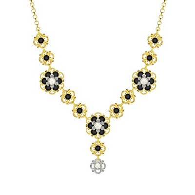 Lucia Costin .925 Silver, White, Black Swarovski Crystal Necklace, Fabulous