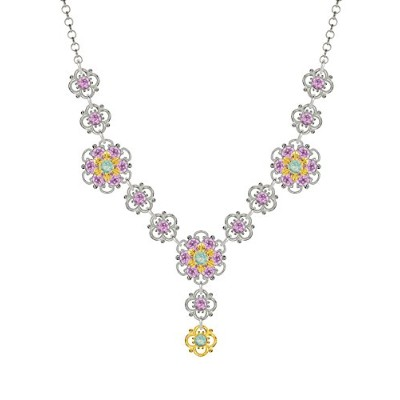 Lucia Costin .925 Silver, Mint Blue, Lilac Crystal Necklace, Seductive