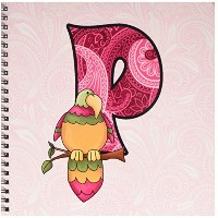 Doreen Erhardt Baby Monograms – P Is for Parrot inピンクのガールズベビーとキッズモノグラムP in Paisley Prints – Drawing...