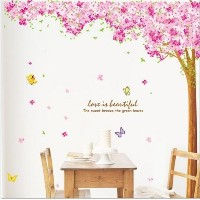 [アメリカ直送]Hunnt Large Pink Sakura Flower Cherry Blossom Tree Wall Sticker Decals PVC Removable Wall D