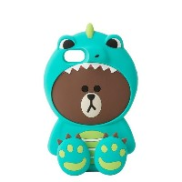 Line Friends Store Official Wanner Be Dino Brown Silicone iPhone Case