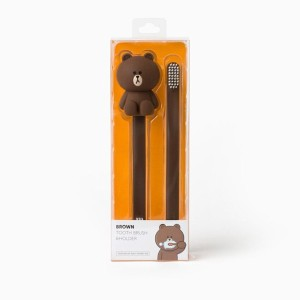 Line Friends Store Official Goods : Brown Silicon Tooth Brush and Holder Set