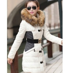 New Women s Slim down cotton trench coat stitching hooded padded jacket belt fur