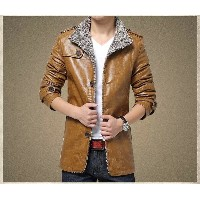 Winter Motorcycle Leather Jacket With Fur Men Leather Jackets Man Stand Collar Medium length...
