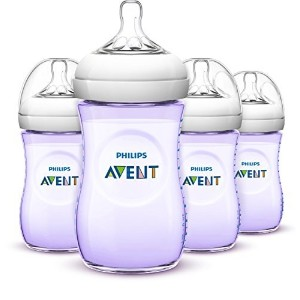 Philips AVENT Natural Bottle  Purple  9 Ounce  4 Count