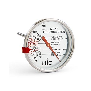 【HIC Roasting Meat Poultry Turkey Grill Thermometer, Oven Safe, Large 3-Inch Easy-Read Face,...