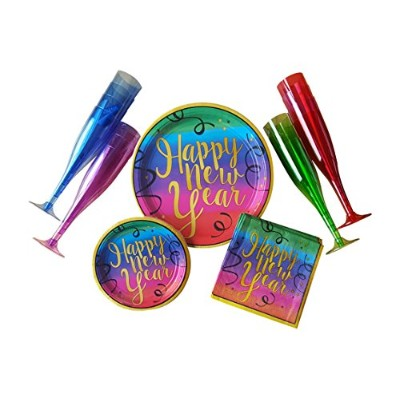 New Year 's Party Supplies for 18ゲスト–カラフルなパックIncludes Dinner Plates、前菜/デザートプレート、ナプキン& Champagne...
