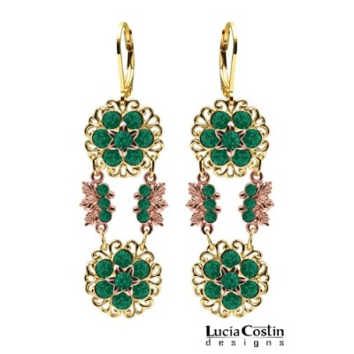 24K Yellow and Pink Gold over .925 Sterling Silver Dangle Flower Earrings by Lucia Costin with...