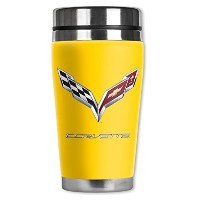 High Quality Corvette C7 Logo Travel Mug with Insulated Wetsuit Cover, 16 oz, Yellow