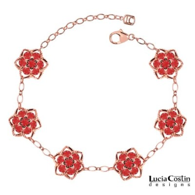 Lucia Costin Star Shaped Flower Bracelet Made of 14K Pink Gold Plated over .925 Sterling Silver...