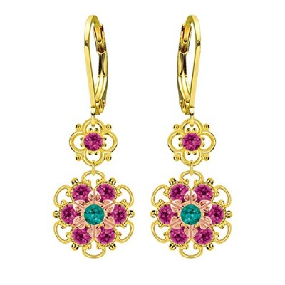 Lucia Costin Silver, Turquoise Green, Fuchsia Crystal Earrings with Dots
