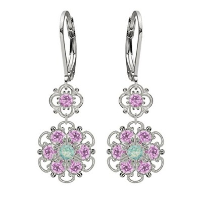 Lucia Costin Silver, Mint Blue, Lilac Swarovski Crystal Earrings, Fascinating