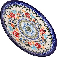High Quality, 1102/238, Dessert Plate 19, 7 1/2 Inches in Diameter, Royal Blue Patterns with Red...