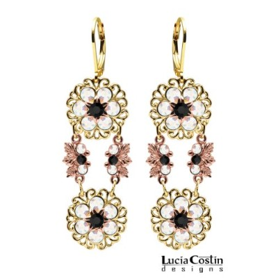 Lucia Costin Dangle Flower Earrings Made of 24K Yellow and Pink Gold over .925 Sterling Silver with...