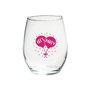 Kate Aspen LP Let 's Party 15 Oz Stemless Wine Glass ( Set of 4 )、クリア