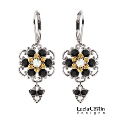 Lucia Costin Lever Back Flower Shaped Dangle Earrings Made of Sterling Silver with 24K Yellow Gold...