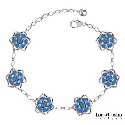 Lucia Costin Flower Bracelet Made of .925 Sterling Silver with 14K Yellow Gold over .925 Sterling...