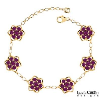 14K Yellow Gold Plated over .925 Sterling Silver Flower Bracelet by Lucia Costin with Twisted Lines...
