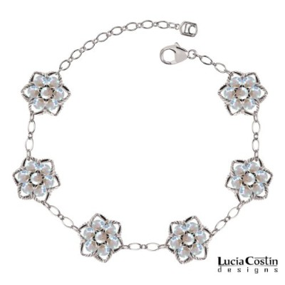 Victorian Style Flower Bracelet Crafted in .925 Sterling Silver by Lucia Costin with White...