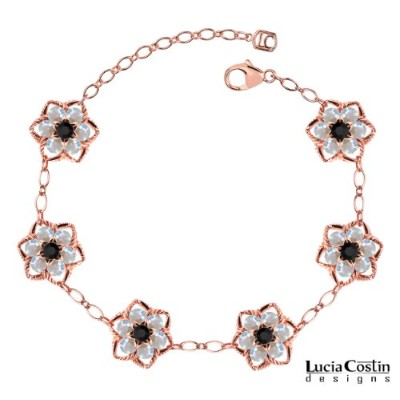 Victorian Style 14K Pink Gold Plated over .925 Sterling Silver Flower Bracelet by Lucia Costin with...
