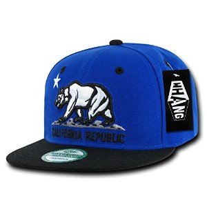 Decky W1-CR-RYLBLK California Republic Snapback Cap, Royal & Black