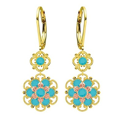 Lucia Costin Silver, Turquoise Swarovski Crystal Earrings with Flowers