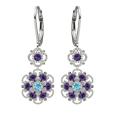 Lucia Costin Silver, Violet, Light Blue Crystal Earrings with Dots