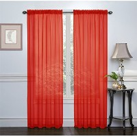 High Quality Crystal Sheer Voile Rod Pocket Panel Pair, 108 by 84-Inch, Red, Set of 2