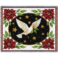 Pure国Dove and Poinsettias Blanket Tapestry Throw