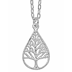 Tree of Lifeティアドロップペンダントネックレス(シルバーメッキ, Small ) by Mercedes Shaffer