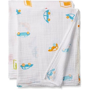 High Quality Muslin Swaddle Blankets, Beep N' Buzz, Large