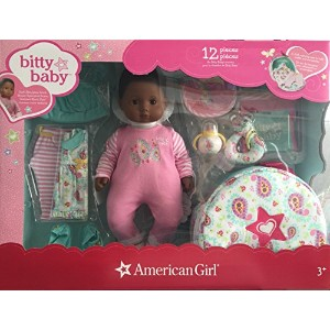 【American Girl Bitty Baby Doll + Special Starter Collection-Dark skin, black hair, brown eyes】...
