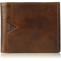 Guess Men 's Leather Billfold Wallet withファスナー付き現金ポケット カラー: ブラウン