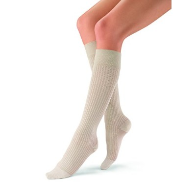 JOBST soSoft 8-15 mmHg Ribbed Closed Toe Knee Support Stocking, Sand, Small by Jobst