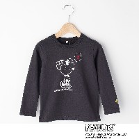 【3can4on(Kids) (サンカンシオン)】SNOOPY コラボプリント長袖Tシャツキッズ トップス|カットソー・Tシャツ ダークグレー