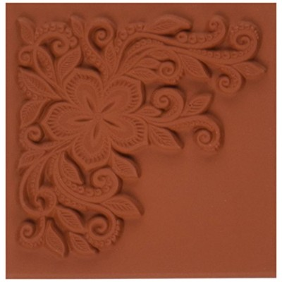 Deep Red Stamps Lace Flower Corner Rubber Stamp