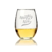"Chloe and Madison "" Naughty or Nice "" Stemlessワインガラス、4のセット"