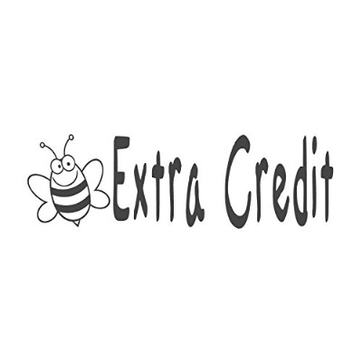 Extra Credit with Beeイメージ、pre-inked先生ラバースタンプ( # 671301-g ) ,スタイルG Large size (58 x 18mm) ブルー