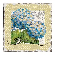 High Qualityt Tumbled Tile Trivet, 6, Botanical Hydrangea