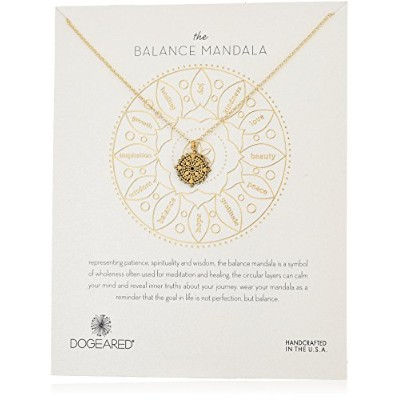 "[ドギャード]Dogeared The Balance Mandala Necklace Small Center Circle Gold Dipped Chain Necklace, 16""+ 3..."