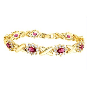 SimulatedピンクルビーとキュービックジルコニアリンクWomens Xo Bracelet In Gold over真鍮