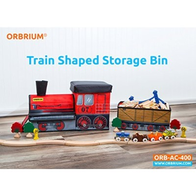 Orbrium Toys Train Shaped Collapsible Toy Storage Bins Organiser for Thomas Wooden Train and...