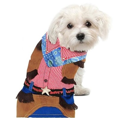 Cowboy Costume for Dogs (Size 5 (14 l x 18.5 - 20.5 girth)) by Puppe Love