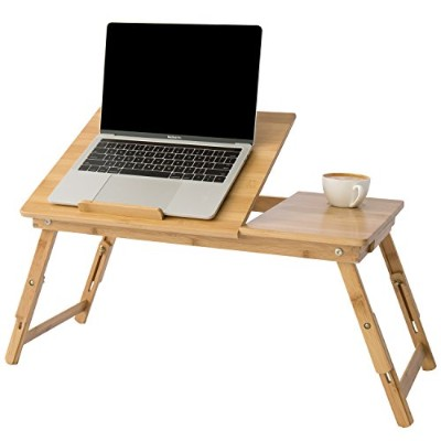 MyGift Height & Angle Adjustable Laptop Desk, Bamboo Beige Wood Folding Breakfast In Bed Table w/ Side Drawer by MyGift