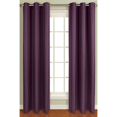 High Quality Mansfield Woven Window Curtain Panel, 50 by 84-Inch, Plum