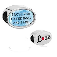 CharmedクラフトブルーI Love You To The Moon And Backチャームフォトのチャームビーズブレスレット