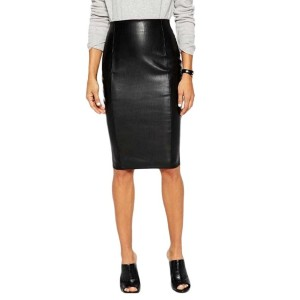 High Waist Back Split Solid Faux Leather Pencil Skirt