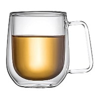 lauderhome Double Wall Mug with handle-crystalクリアカップのお茶、コーヒー、牛乳またはCold drinks- Heat Resistant...