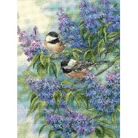 High Quality Counted Cross Stitch, Chickadees And Lilacs